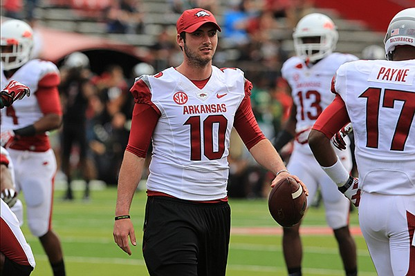 Arkansas quarterback Brandon Allen watches warmups prior to the Razorbacks' game at Rutgers on Saturday, Sept. 21, 2013 at High Point Solutions Stadium in Piscataway, N.J.