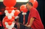 Arkansas coach Bret Bielema talks Friday, Aug. 28, 2015, during the annual Razorback Kickoff dinner at the Northwest Arkansas Convention Center in Springdale.