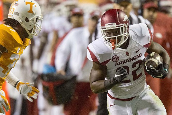 Arkansas running back Rawleigh Williams runs during the second quarter of a game against Tennessee on Saturday, Oct. 3, 2015, at Neyland Stadium in Knoxville, Tenn.