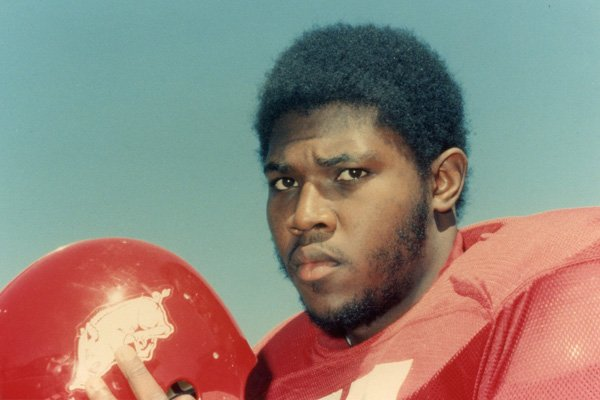 "Dennis ""Dirt"" Winston played at Arkansas from 1973-1976."