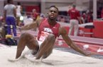 Jarrion Lawson of Arkansas competes in the invitational long jump on Friday Feb. 12, 2016, during the Tyson Invitational track meet at the Randal Tyson Track Center in Fayetteville.