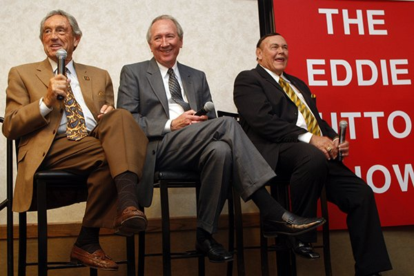 From left: Eddie Sutton, Pat Foster and Gene Keady participate in a panel at the Little Rock Tip-Off Club on March 29, 2010.
