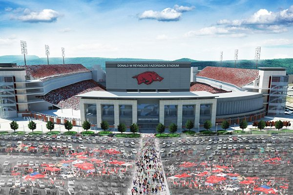 An artist's rendering shows what a proposed expansion to Donald W. Reynolds Razorback Stadium in Fayetteville might look like. The UA athletics department estimates the project would add about 4,800 seats and cost $160 million. (Photo by Razorback Athletics)