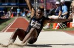 Jarrion Lawson competes in the mens long jump final at the U.S. Olympic Track and Field Trials, Sunday, July 3, 2016, in Eugene Ore. (AP Photo/Matt Slocum)
