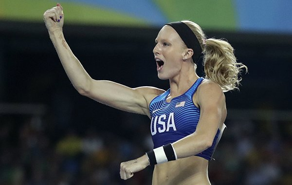 Silver medal winner, United States' Sandi Morris celebrates after the women's pole vault final, during the athletics competitions of the 2016 Summer Olympics at the Olympic stadium in Rio de Janeiro, Brazil, Friday, Aug. 19, 2016. (AP Photo/Matt Dunham)