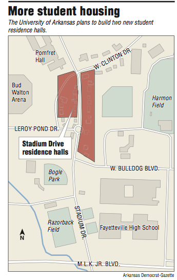 u of arkansas map Ua Looks To Add Two Dorms