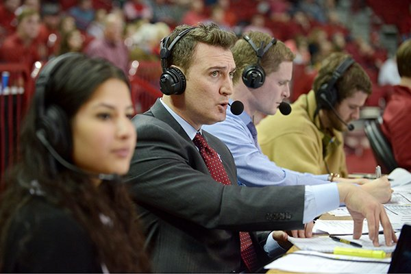 Pat Bradley provides color commentary on Thursday Dec. 1, 2016, during the men's basketball game between Arkansas and Stephen F. Austin in Bud Walton Arena in Fayetteville.