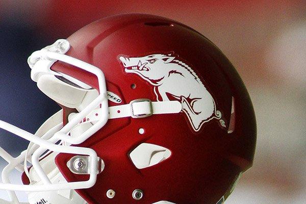 An Arkansas helmet is shown before an NCAA college football game against Auburn, Saturday, Oct. 24, 2015, in Fayetteville, Ark. (AP Photo/Samantha Baker)