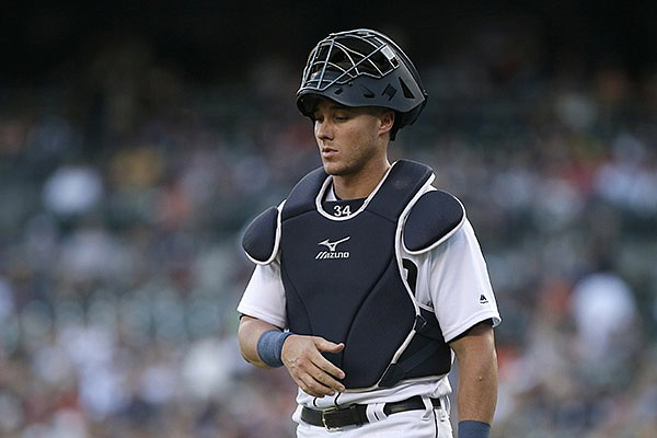 Detroit Tigers' James McCann during a baseball game against the Los Angeles Angels Friday, Aug. 26, 2016, in Detroit. (AP Photo/Duane Burleson)