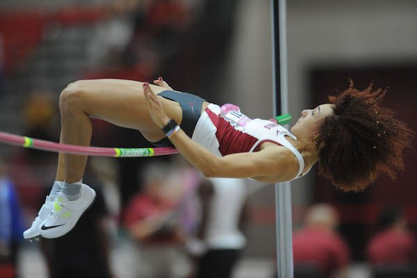 Arkansas junior Taliyah Brooks competes in the high jump invitational Saturday, Feb. 11, 2017, during the Tyson Invitational in the Randal Tyson Track Center in Fayetteville.