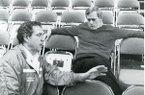Arkansas Democrat columnist Wally Hall speaks with basketball coach Eddie Sutton in this undated photo.
