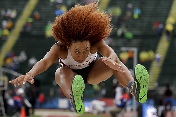 Taliyah Brooks competes during the heptathlon long jump at the U.S. Olympic Track and Field Trials, Sunday, July 10, 2016, in Eugene Ore.(AP Photo/Matt Slocum)