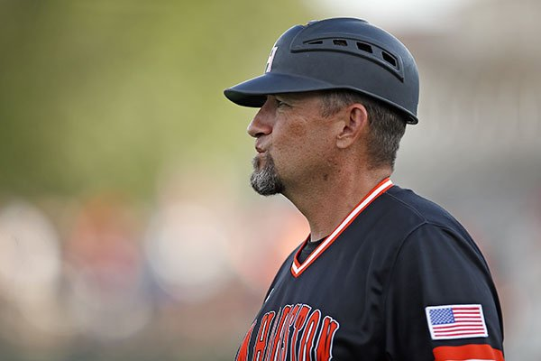 Sam Houston State coach Matt Deggs watches the team's play against Texas Tech during an NCAA college baseball regional tournament game in Lubbock, Texas, Sunday, June 4, 2017. (Brad Tollefson/Lubbock Avalanche-Journal via AP)
