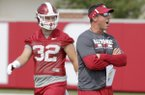 Dan Enos, offensive coordinator and quarterback coach of the Arkansas Razorbacks Thursday, July 17, 2017, during practice on campus in Fayetteville.