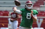 Arkansas quarterback Austin Allen drops back to pass Saturday, Aug. 5, 2017, prior to the start of a scrimmage in Razorback Stadium in Fayetteville.