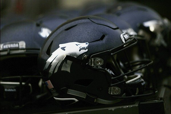 A Nevada helmet is photographed after the team's NCAA college football game against Washington State in Pullman, Wash., Saturday, Sept. 23, 2017. (AP Photo/Young Kwak)
