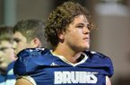 Pulaski Academy offensive lineman Luke Jones watches during warmups prior to a game against Bossier City (La.) Parkway on Friday, Sept. 16, 2017, in Little Rock.