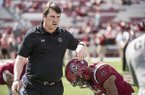 South Carolina head coach Will Muschamp encourages defensive back D.J. Smith (24) before an NCAA college football game against Louisiana Tech on Saturday, Sept. 23, 2017, in Columbia, S.C. South Carolina defeated Louisiana Tech 17-16. (AP Photo/Sean Rayford)