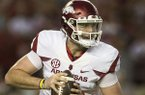 Arkansas quarterback Cole Kelley looks to pass during a game against Alabama on Saturday, Oct. 14, 2017, in Tuscaloosa, Ala.