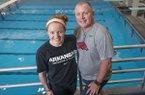 Arkansas freshman diver Brooke Schultz, left, is earning high marks for her father, Razorbacks coach Dale Schultz.