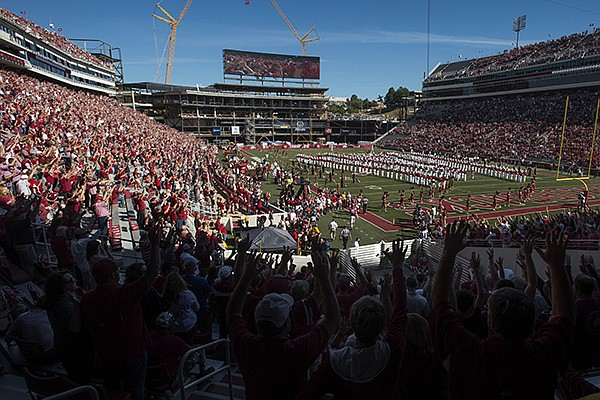 Donald W. Reynolds Razorback Stadium is shown prior to a game between Arkansas and New Mexico State on Saturday, Sept. 30, 2017, in Fayetteville.