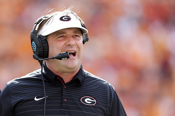 Georgia head coach Kirby Smart is seen during the first half of an NCAA college football game against Tennessee Saturday, Sept. 30, 2017, in Knoxville, Tenn. (AP Photo/Wade Payne)
