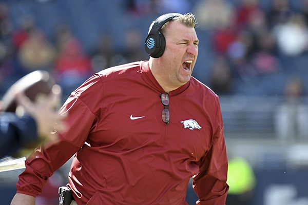Arkansas head coach Bret Bielema reacts during the second half of an NCAA college football game against Ole Miss in Oxford, Miss., Saturday, Oct. 28, 2017. Arkansas won 38-37. (AP Photo/Thomas Graning)