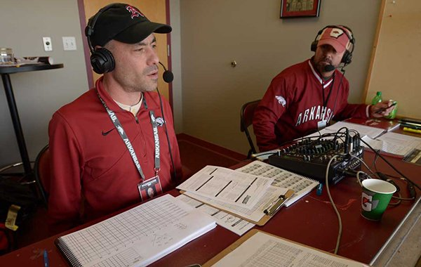 Arkansas radio announcers Phil Elson, left, and Bubba Carpenter during the pregame show Friday, Feb. 16, 2018, at Baum Stadium in Fayetteville.
