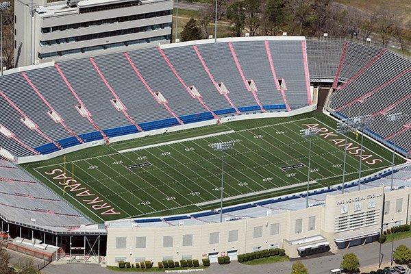 War Memorial Stadium in Little Rock is shown in a 2014 file photo.