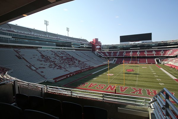 Donald W. Reynolds Razorback Stadium is shown from the newly-renovated north end zone on Monday, Aug. 27, 2018, in Fayetteville.