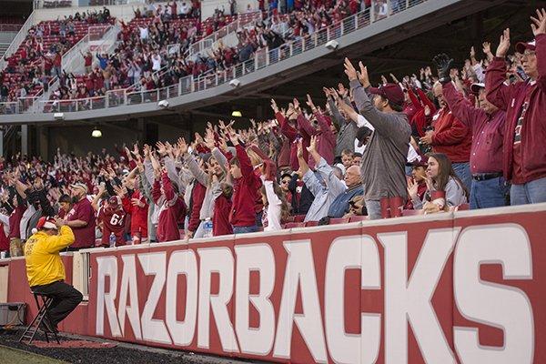 Arkansas fans cheer during a game against Missouri on Friday, Nov. 24, 2017, in Fayetteville.