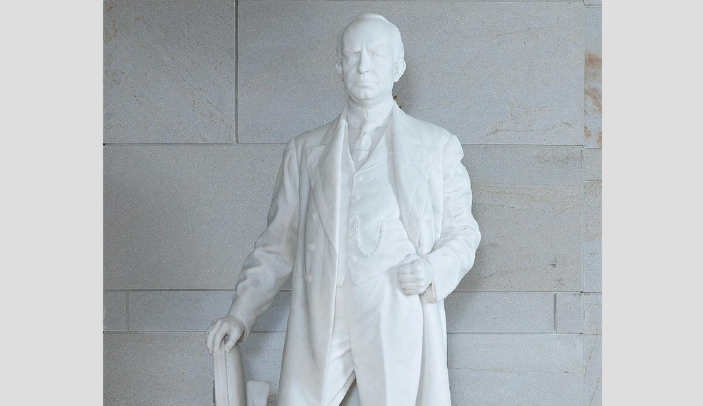 This statue of James P. Clarke is one of two representing Arkansas in the U.S. Capitol. It is in the visitor center and was donated by the state in 1921. (Photo from the website of the National Statuary Hall Collection)