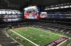 A press box view of the field at AT&T Stadium in Arlington, Texas, ahead of the 75th meeting between Arkansas and Texas A&M.