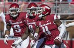 Santos Ramirez (from left), De'Jon Harris and Ryan Pulley, celebrate after Pulley made an interception in the second quarter of a game against Tulsa on Saturday, Oct. 20, 2018, at Reynolds Razorback Stadium in Fayetteville.