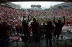 Arkansas fans cheer before taking on Alabama Saturday, Oct. 6, 2018, at Razorback Stadium in Fayetteville. Visit nwadg.com/photos to see more photographs from the game.