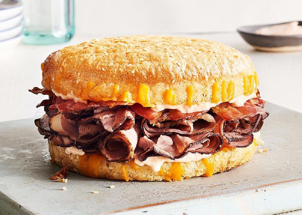 A Beef Bacon Smokecheesy sandwich is on the menu at the new  Schlotzsky's Austin Eatery in Hot Springs.