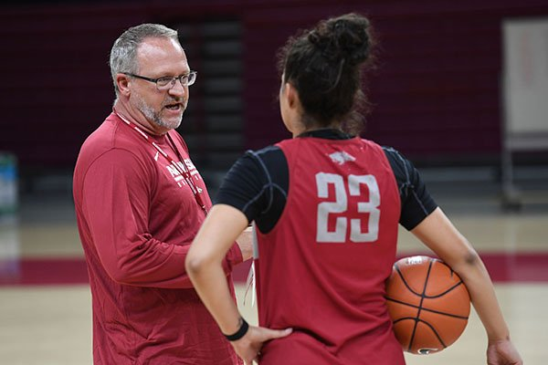 Arkansas coach Mike Neighbors talks to player Amber Ramirez during practice Monday, Oct. 1, 2018, in Fayetteville.