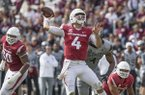 Arkansas quarterback Ty Storey throws a pass during a game against Mississippi State on Saturday, Nov. 17, 2018, in Starkville, Miss.
