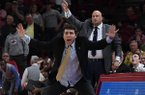 Georgia Tech coach Josh Pastner urges his defenders late during a game against Arkansas on Wednesday, Dec. 19, 2018, in Fayetteville.