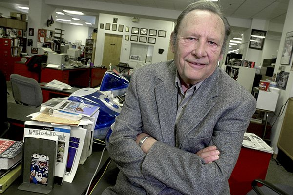 Jim Bailey is shown in the Arkansas Democrat-Gazette newsroom in Little Rock in this January 2003 file photo. Bailey, who covered sports in Arkansas for than a half century and was voted state sports writer of the year 18 times, died on Jan. 2, 2019, due to complications from Alzheimer's.
