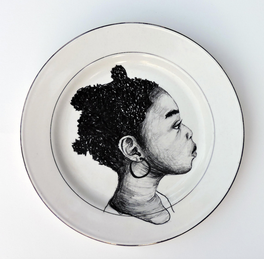 """This plate is one of 200 plates painted by Delita Martin for her installation The Dinner Table, which is featured in """"On Their Own Terms"""" at the Windgate Center of Art + Design at the University of Arkansas at Little Rock. It opens Jan. 17."""