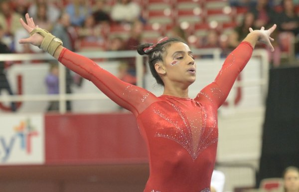 Arkansas' Sophia Carter competes in the floor Saturday, Jan. 5, 2019, during the Razorbacks' meet with No. 2 Oklahoma in Barnhill Arena in Fayetteville. Visit nwadg.com/photos to see more photographs from the meet.