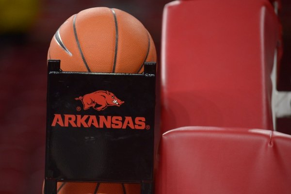 A basketball sits in a rack at Bud Walton Arena in this undated photo.