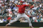 Los Angeles Angels closing pitcher Blake Parker in action against the Seattle Mariners during a baseball game, Wednesday, July 4, 2018, in Seattle. (AP Photo/John Froschauer)