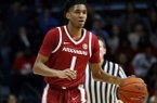 Arkansas guard Isaiah Joe (1) dribbles up court during the second half of the NCAA college basketball game against Mississippi in Oxford, Miss., Saturday, Jan. 19, 2019. Mississippi won 84-67. (AP Photo/Rogelio V. Solis)