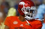 North outside linebacker Dre Greenlaw of Arkansas (36) before the start of the Senior Bowl college football game, Saturday, Jan. 26, 2019, in Mobile, Ala. (AP Photo/Butch Dill)