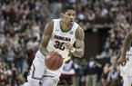 South Carolina forward Chris Silva (30) drives to the hoop during the second half of an NCAA college basketball game Tuesday, Jan. 22, 2019, in Columbia, S.C. South Carolina defeated Auburn 80-77. (AP Photo/Sean Rayford)