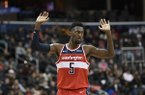 Washington Wizards forward Bobby Portis gestures during the second half of the team's NBA basketball game against the Cleveland Cavaliers, Friday, Feb. 8, 2019, in Washington. The Wizards won 119-106. (AP Photo/Nick Wass)