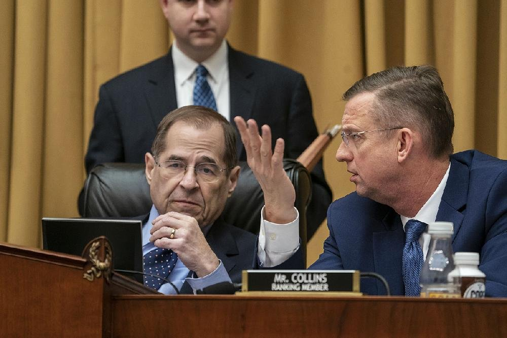 """House Judiciary Committee Chairman Jerrold Nadler (left) and ranking member Doug Collins (right) clashed during Friday's hearing with acting Attorney General Matthew Whitaker after Nadler criticized Whitaker for not recusing himself from the Russian investigation and Collins accusing Nadler of """"political theater."""""""