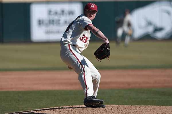 Arkansas pitcher Patrick Wicklander throws during a game against Eastern Illinois on Sunday, Feb. 17, 2019, in Fayetteville.
